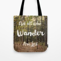 Art Tote lake Bag Not all who Wander are Lost typography photography green forest brown woods woodland trees nature ethereal light fashion