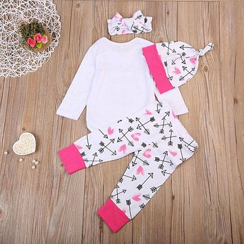I'm Adorable Baby Girl Long Sleeve Onsie Pants Hat Headband 4Pcs Outfit Set
