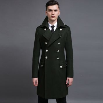 Vintage casual slim long wool coat men jackets and coats mens double-breasted wool overcoats winter trench jacket Army Green