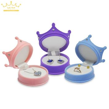 Crown Velvet Ring Display Box Ear Stud Necklace Jewelry Case Container Wedding Ring Gift Case Earrings Storage