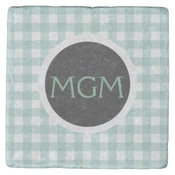 Monogrammed Sage Green Gingham Stone Coaster