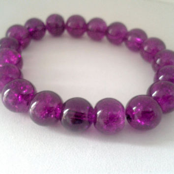 Sparkly Purple Round Beaded Stretchy Bracelet