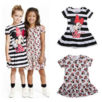 Dresses Brand 2016 Cute Children Kids Baby Girls Minnie Mouse Cartoon Dress Clothing Casual Summer Mini Short Dress Clothes 2-7Y