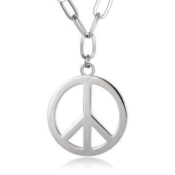 High Quality Male Silver Peace Sign Pendant Necklace for Men Stainless Steel Choker Round Crux de Sanctus Petrus Punk Jewelry