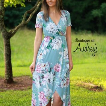 Blue Floral Wrap High Low Dress - Boutique At Audrey's