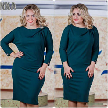 Dmart7deal Plus Size L - 6XL New Fashion CASUAL Losse SOLID FULL Sleeve Natural Waistline O-NECK KNEE LENGTH Women summer Dress
