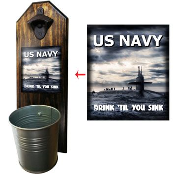 Navy Drink 'Till You Sink Bottle Opener and Cap Catcher, Wall Mounted
