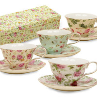 Rose Chintz Porcelain Tea Cups (Teacups) and Saucers