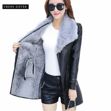 [CHENS SISTER] Winter 2018 New Fashion Leather PU Jacket Big Fur Collar with Belt Long Plus Size PU Jacket Outwear Coat