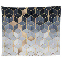 Soft Blue Gradient Cubes Tapestry