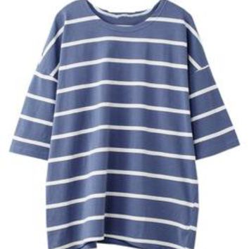 'Zoya' Striped Cotton Oversized T-Shirt (2 Colors)