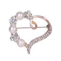 Women Rhinestone Brooch Pin Pearl Brooches Scarves Clip