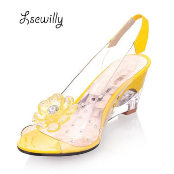 2016 Hot Sale Crystal Wedges Transparent Women high-heeled Sandals Plus Size 40-43 rhinestone Peep Toe Jelly Shoes AA016