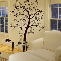 Customizable Big Tree with Cat and Bird Wall Decal Deco Art Sticker Mural - Digiflare Graphics