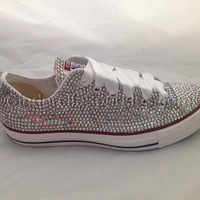Diamante Crystal Covered Converse Wedding Prom Shoes Trainers Custom Made with sequin bow