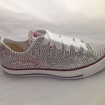 5db91369f705 Diamante Crystal Covered Converse Wedding Prom Shoes Trainers Cu