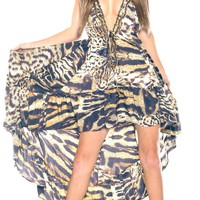 Parides Silk Animal Print Maxi Dress | High End Resort Wear