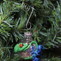 Blue Frog Dendrobates Azureus Christmas ornament glass ball Polymer clay Made To Order