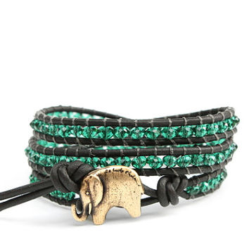 Emerald Green Leather Wrap Bracelet  With Signature GOOD LUCK ELEPHANT button - the Lucky Elephant Exclusive