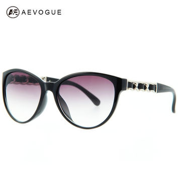 AEVOGUE Cat Eye Brand Vintage Sunglasses Women Eyewear Sun Glasses Chain Temple Leather Trimmings UV400 AE0138