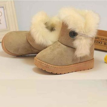Winter Fashion Kids Baby Girls Baby Shoes  Winter Baby Girls Child  Snow Boots Warm Bottom Anti-Slip Sneakers Soft Bottom Shoes