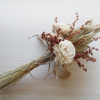 Country Wheat Bridesmaid Bouquet, handmade of wheat, sola flowers, burlap & twine. Made to Order.