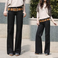 2017 Spring and Autumn new thin straight jeans women casual pants big yards wide leg Trousers fashion pants women A313