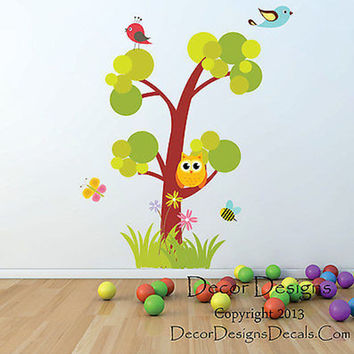 Wilderness Owl Tree Printed Fabric Repositionable Wall Decal Sticker