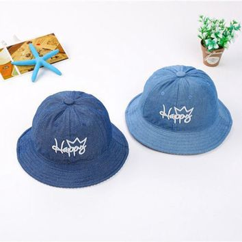 Puseky Blue Boys Girls Jeans Hats Baby Cartoon Happy Letter Hats Children Spring Summer Sun Hats Infants Bucket Caps Denim Hats