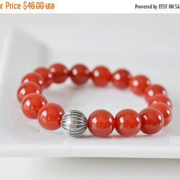 Carnelian Bracelet, Gemstone Bracelet, Red Beaded Bracelet, Sterling Silver Bracelet, Stretch Bracelet, Mens Womens Stone Jewelry, Gifts