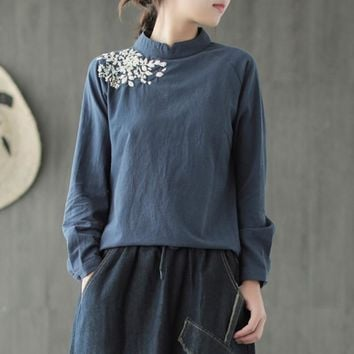 Johnature Women Embroidery T-Shirts Pullover Vintage Women Clothing 2019 Autumn New Cotton Linen Solid Color Stand Women T-Shirt