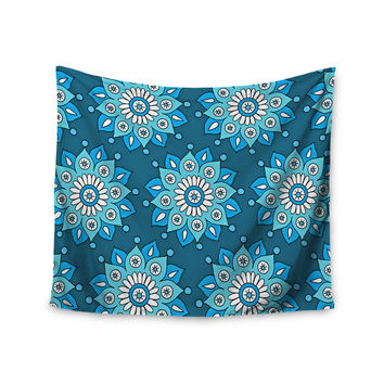 "Sarah Oelerich ""Blue Flower Burst"" Aqua Wall Tapestry"