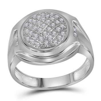 10kt White Gold Mens Round Diamond Circle Cluster Fashion Ring 1/3 Cttw
