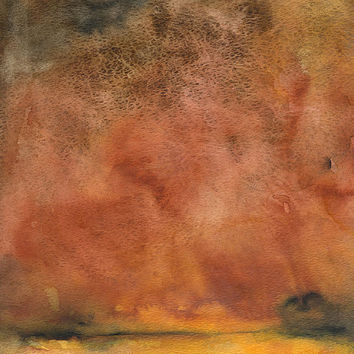 Abstract Autumn Landscape Watercolor Painting - 5 x 7 - Giclee Print