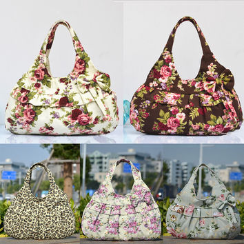 Free Shipping Women Lady Vintage Bowknot Floral Zipper Leopard Print Canvas Soft Fashion Casual small Handbag women Shoulder Bag