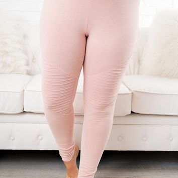 Curvy Scorpio Moto Leggings (Blush)