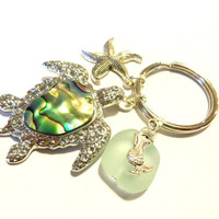 Abalone Sea Turtle and Mermaid Keychain