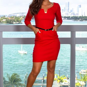 Red Short Dress with Belt and 3/4 Sleeves
