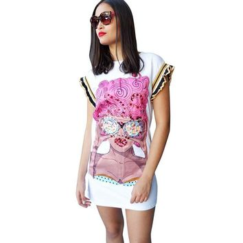 Sexy Long T-shirt Cartoon Sequins Trendy Top Nightclub Women Butterfly Sleeve O-Neck White Large Size Party Hot Sales