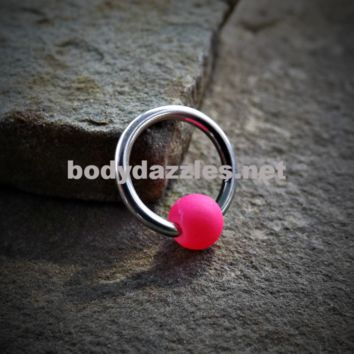 Captive Hoop Cartilage Earring with Pink Bead Body Jewelry Helix Tragus Daith 16ga Upper Ear Jewelry 316L Surgical Stainless Steel