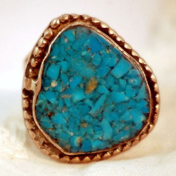 Men's Vintage Turquoise Inlay  Ring  1960's by BootsiesWorld
