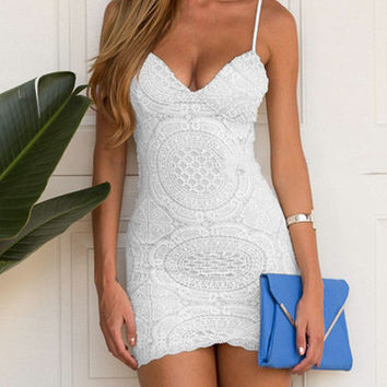 White Lace Sweetheart Cami Dress