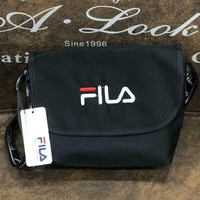 FILA New fashion single shoulder bag oblique straddle bag men and women wallet small waist bag Black