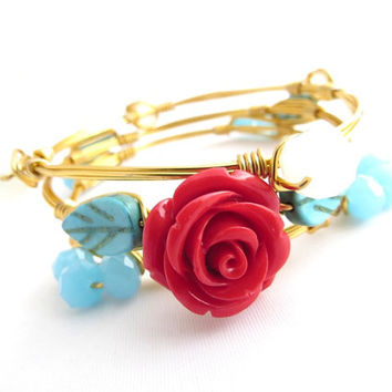 Red Rose, Turquoise Stones and Crystals Bangle Set