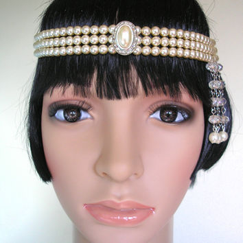 Gatsby Headpiece, Pearl Headband, Art Deco Forehead Band, Pearl Headdress, Gatsby Bridal Jewelry, Head Chain, 1920s Flapper, Gatsby Wedding