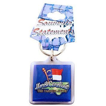 North Carolina Keychain Lucite Map/Flag