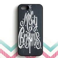 Merry Christmas Tree Chalk iPhone 5 and  5s case