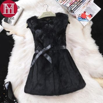 2017 New Hot Sale Women Real Genuine Rabbit Fur Long Vests Fashion 100% Real Rabbit Fur Gilet Real Rabbit Fur Sleeveless Coat