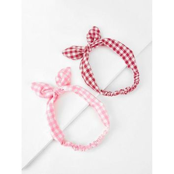 DCCKM83 Knotted Bow Gingham Headband 2pcs
