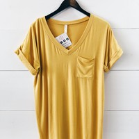Lucca Pocket Tee In Mustard